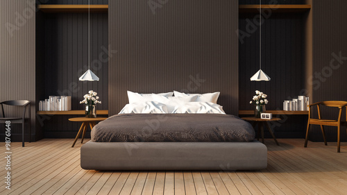 Fotografía  Loft and modern bedroom / 3D render image