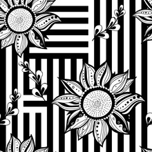 Black White Floral Seamless Background. Modern Style. Vector Illustration.