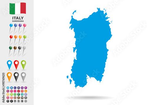Photo  Map of Sardegna in Italy