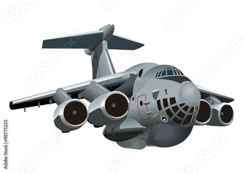 Tuinposter Helicopter Vector Cartoon Military Cargo plane. Available EPS-10 vector format separated by groups and layers for easy edit