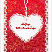 Vector Valentine's Day Lacy Heart Greeting Card