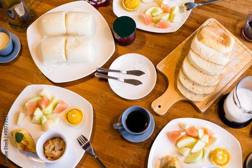 Spoed Foto op Canvas Dessert Top view of the home breakfast