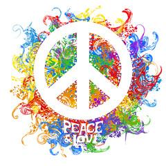 Fototapeta Do pokoju dziewczyny retro hippie symbol