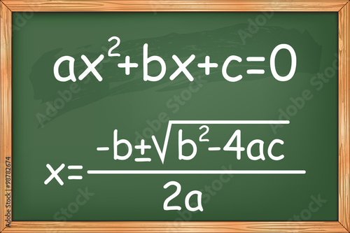 Photo Mathematics, second degree equation on chalkboard vector