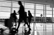 Passengers walking through in airport
