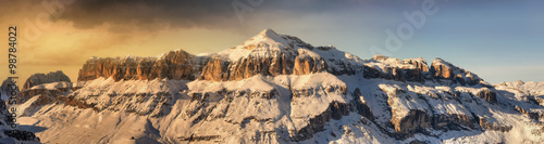 Tablou Canvas Fantastic winter landscape. Dramatic overcast sky, Italian Alps