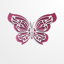 Paper Cut Lacy Butterfly. Vect...