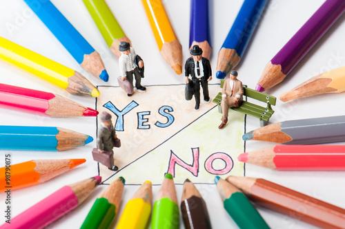 Fotografie, Obraz  yes,no,ビジネスマン