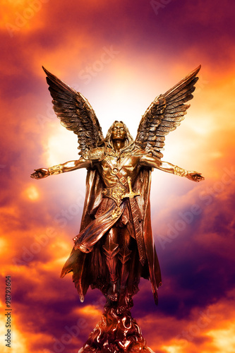 archagel statue with divine light Wallpaper Mural