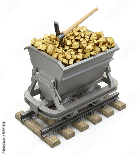 Fotografie, Tablou  Gold nuggets in the mining cart