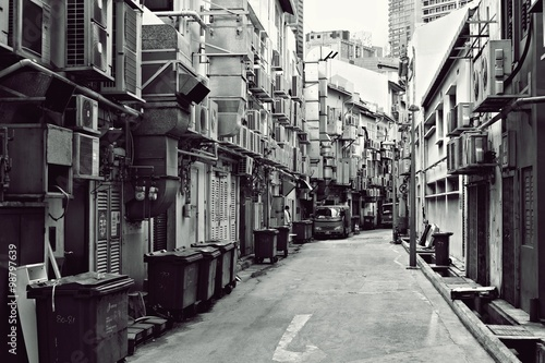 Photo  Fine Art Photography Singapore, A back alley of City, Singapore Black and white