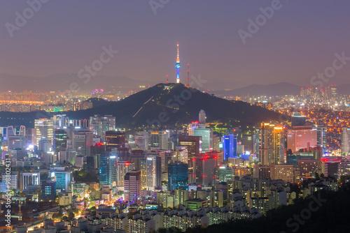 Foto op Canvas Seoel Seoul at night, South Korea city skyline.