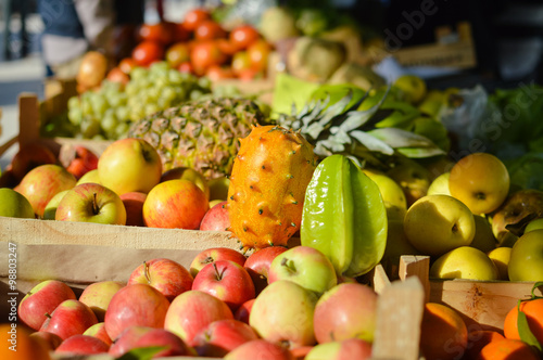 Many Different Fruits At A Farmers Market Background Buy