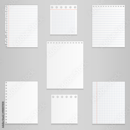 Fotografía  Set of different notebook paper, vector