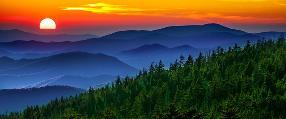 Obraz na Szkle Natura Smoky mountain sunset