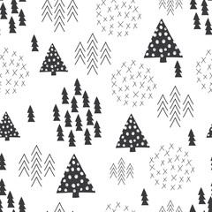 FototapetaSeamless scandinavian style simple illustration christmas tree background