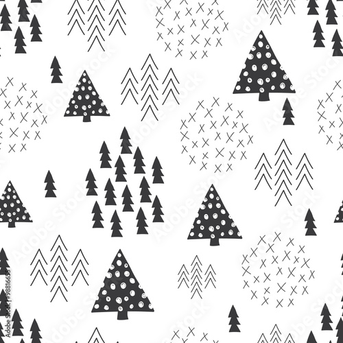 Seamless scandinavian style simple illustration christmas tree background