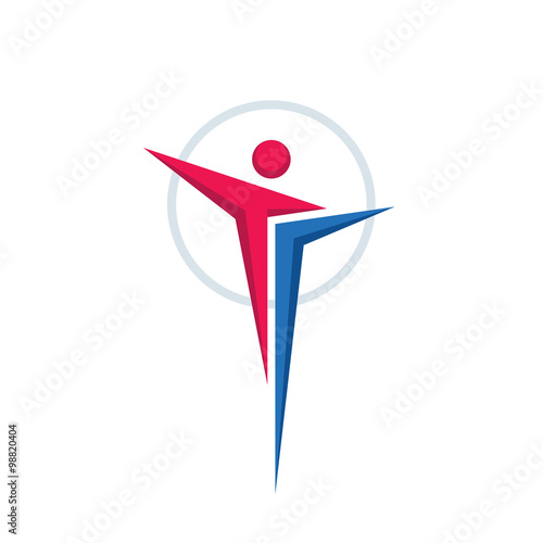 Abstract Human Character Vector Logo Concept Illustration For