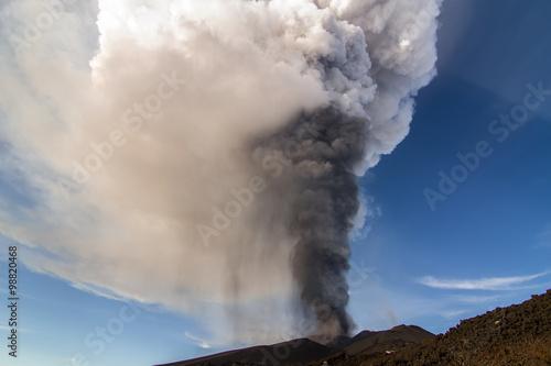 Fotografie, Obraz  Volcano eruption. Mount Etna erupting from the crater Voragine