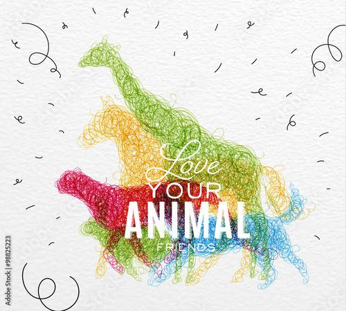Fotografie, Obraz  Poster animals tangled line