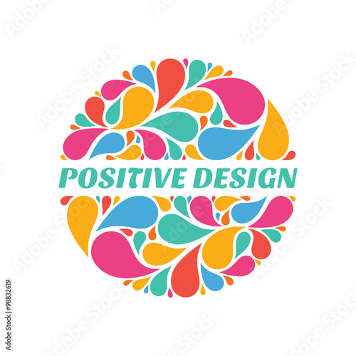 Positive design - abstract composition from colored petals in circle ...