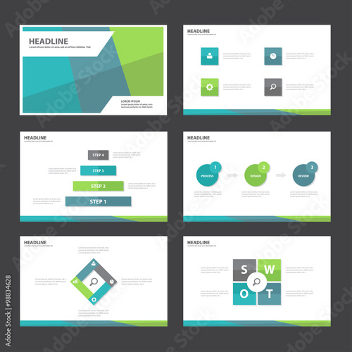 3 color presentation template infographic elements flat design set