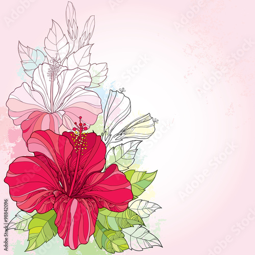 Bouquet With Chinese Hibiscus Or Hibiscus Rosa Sinensis And Leaves