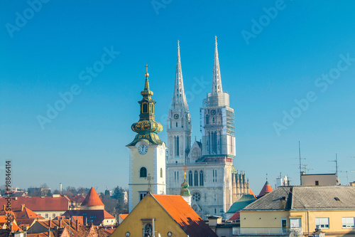 Garden Poster Berlin Towers of Zagreb cathedral from Upper town