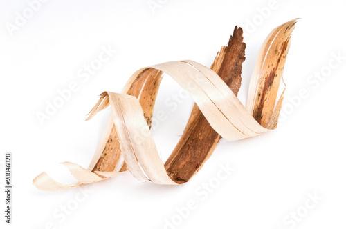 Bark. Wood shavings in a carpenter's masterpiece. Tablou Canvas