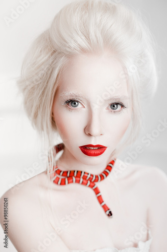 Fotografie, Obraz  albino white woman with red lips and red snake beauty