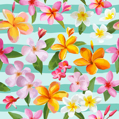 Tropical Flowers and Leaves Geometric Background