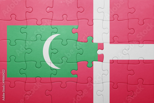 Photo  puzzle with the national flag of maldives and denmark