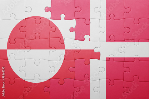 Photo  puzzle with the national flag of greenland and denmark