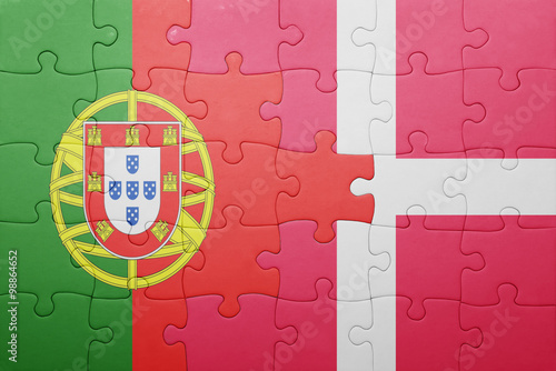 Photo  puzzle with the national flag of portugal and denmark