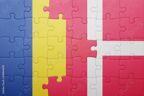 Photo  puzzle with the national flag of romania and denmark