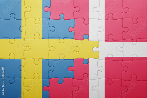 Photo  puzzle with the national flag of sweden and denmark