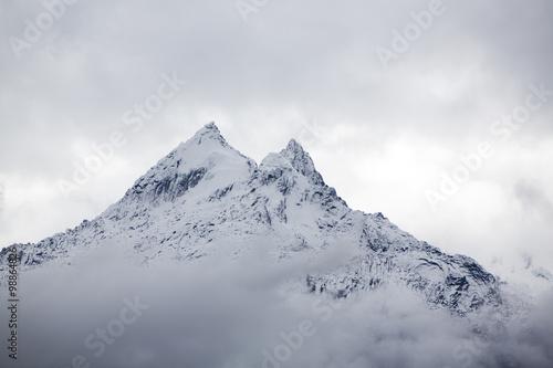 Snow covered mountain peak in the Cordillera Blanca, Peru Canvas Print