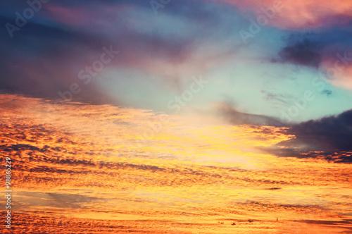 Poster de jardin Desert de sable Sunset / sunrise with clouds and light effect