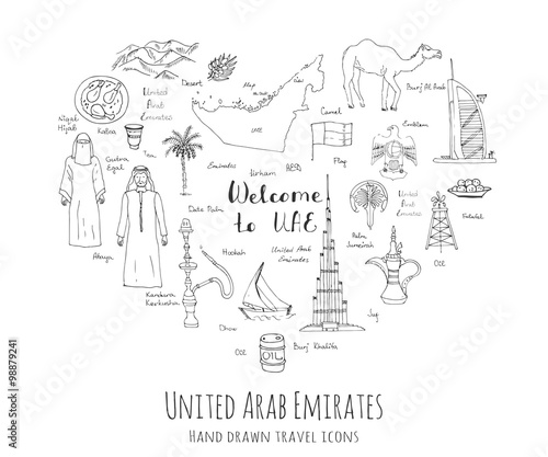 фотография  Hand drawn doodle UAE set Vector illustration Sketchy Emirati food icons United