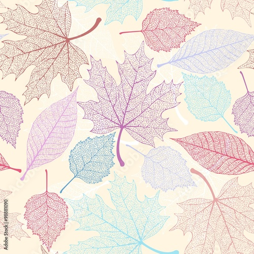 Stoffe zum Nähen Skelett Blätter nahtlose