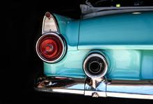 Chrome Rear Tail Lights, Bumper Bar And Exhaust Of Convertible Aqua