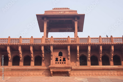 In de dag Vestingwerk Red sandstone palace buildings in Agra Fort Delhi