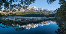Panoramic Of Mirror Lakes, New...