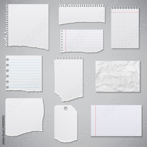 Fotografía  collection of white torn paper. Vector illustration