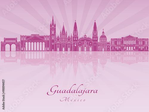 Guadalajara skyline in purple radiant orchid