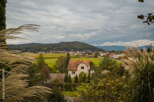 Fotografia  View from the hill of the village, houses and green fields on the background of gloomy sky