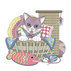 Plakat adorable kitty coloring page