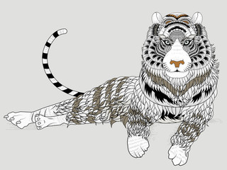 Fototapeta Lew attractive tiger coloring page