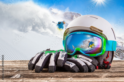Acrylic Prints Winter sports Colorful ski glasses
