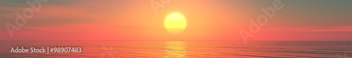 Aluminium Prints Salmon Panorama of sea sunset, sunrise. Baner.